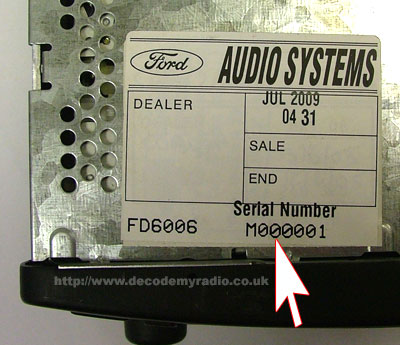 Ford radio serial number location